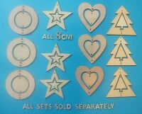 3 HANGING HEARTS with small  heart in centre Wooden Laser Cut Shapes Decorations