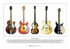 The Beatles' Guitars Limited Edition Fine Art Print A3 size