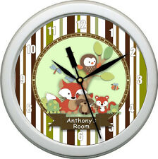 """Personalized Tree Top Animals 10.75"""" Wall Clock Nursery Bedding Decor Gift"""