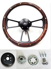 "Bronco F100 F150 F250 F350 Steering Wheel 14"" Dark Pine Wood on Black Ford Cap"