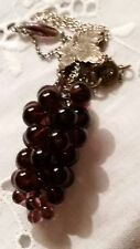Vtg Amethyst Bead Grape Cluster Pendant on Silver Plated Chain Leaves Necklace