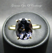 9ct Gold Oval cut 3.4ct Tanzanite Solitaire Ring Size N 2.5g