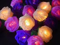 Rose fairy lights, 20 set, handmade flowers. Wedding, Xmas UK SELLER - UK SAFETY