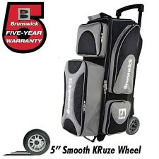 Brunswick Flash X 3 Ball Bowling Roller Bag with Urethane Wheels Color Silver