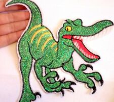 5 extra large dinosaur patches sequin applique iron on sew patch badge motif UK