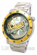 IK Colouring Mens Watch Superb Holllow Gold Luxury Automatic New UK