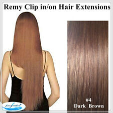 18'Clip in India Remy 100% Human Hair Extensions Best Quality #4 dark brown