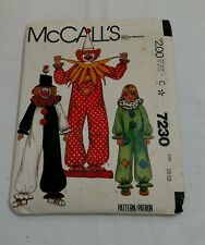 Vtg McCalls Pattern #7230 Clown Childrens Costume Halloween Sz 10-12 CUT