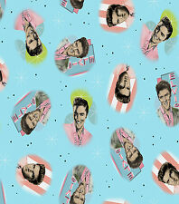 ELVIS PRESLEY PORTRAITS ON BLUE PRINT 100% COTTON FABRIC BY THE 1/2 YARD