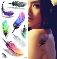 3D Temporary Feather Tattoo Sticker Body Art Removable Waterproof Tattoos