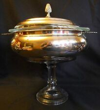 SILVER PLATE PEDESTAL SERVING DISH WITH PYREX GLASS INSERT