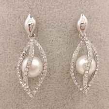 Silver multidimensional willow Crystal Earrings Built Pearl Earrings DD106