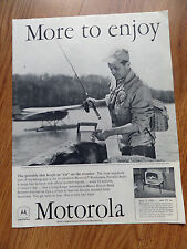 1958 Motorola Portable Radio Ad Keeps Ear on Weather Fishing Lake Airplane