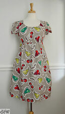 hobbs CHERRY PRINT flax linen SUMMER DRESS vintage 1940's 50's SMOCK pockets 8