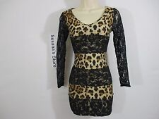 NEW LONG SLEEVE ANIMAL PRINT & LACE  DRESS SIZE S SEXY!!