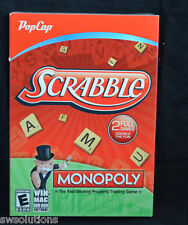 Scrabble and Monopoly - 2 Full PC/MAC Games Brand New in Box XP/Vista/7/8 +OS X