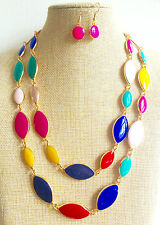 Gold Plated Multi Coloured Double Row Wedding Bridesmaid Enamel Necklace Earring