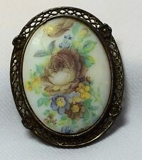 VTG Hand Painted  Porcelain Roses Flowers Pendant Pin Brooch