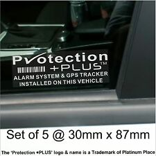 5 x GPS Tracking Device Alarm Security Stickers-Car Tracker Warning Signs PP Des