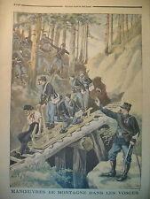 VOSGES SCHLITTE CHASSEURS ALPINS MANOEUVRE DE MONTAGNE LE PETIT JOURNAL 1896