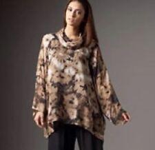 Eskandar DARK BROWN/TAN ABSTRACT FLORAL Silk Monk Cowl Neck Tunic Top 0/S