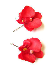 2 x Red Orchid Flower Hair Grips Clips Bridesmaid Bobby Pins Slides 1950s 2110