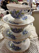 3 Vintage Rosina Bone China Tea Cups & Saucers Purple Floral Flowers set