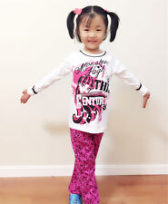 Kids Girls Monster High Sleepwear Pajamas Top Pant Nightwear Cotton Clothes 7-8Y