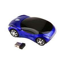 1000DPI Wireless Blue Car Optical Mouse +USB receiver for Laptop Computer LC