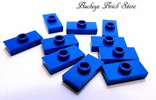 NEW Lego BLUE PLATE, Modified 1x2 w/ Stud -10 JUMPER 10177 6393 5525