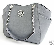 Michael KORS BORSA/BAG JET SET TRAVEL LG CHAIN shldr Hobo SAFFIANO P. Grey NUOVO!