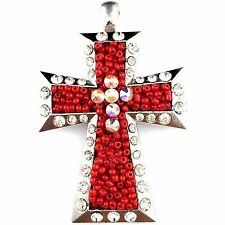 Western Cowgirl Montana Vintage Red Beads Rhinestone Hand-made Cross Pendant