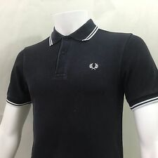 Fred Perry Mens Polo shirt Large 42 slim fit casuals navy white twin tip