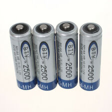 Lot of 4pcs BTY 2500mAh 1.2V AA Ni-MH High quality Rechargeable Batteries