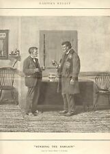 A.B. Frost, Binding The Bargain, Whiskey, Vintage 1903 Antique Print