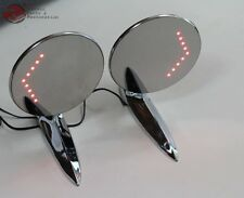 55-57 Chevy GM Custom Outside Chrome Door Mirror LED Turn Direction Arrow Pair
