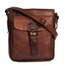NEW Unisex Casual  Crossbody Shoulder Leather Bag Antique BROWN Zip Top BAG Luke