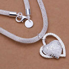 Style Fashion 925 sterling Silver Charm Heart Pendant Beautiful women Necklace