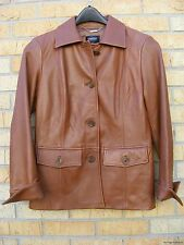 Ellen Tracy Company Light Brown Leather Coat Jacket ~ Small