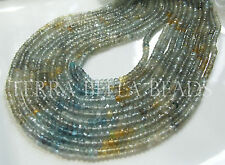 "13"" MOSS AQUAMARINE faceted gem stone rondelle beads 3.5mm green"