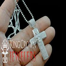 14K WHITE GOLD STERLING SILVER LAB DIAMOND HOLY ANGEL CROSS PENDANT CHAIN SET