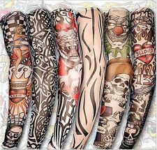 Mixed 6 Designs New Stretch Nylon Fake Temporary Tattoo Sleeves Arms Fancy Dress