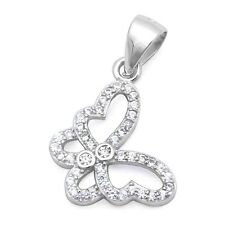 Micro Pave & Round Cz Butterfly .925 Sterling Silver Pendant