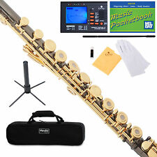 Mendini C Flute Black Nickel Plated 17 Key Open Hole, B Foot+Tuner+Stand+Ca