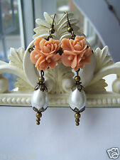 Peach Rose Vintage Style Drop Earrings  and pearl drops