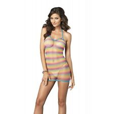 LA-8714 Sexy Stripper Dancer Clubwear Rainbow Striped Halter Mini Dress