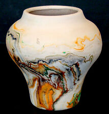 Vintage NEMADJI ART POTTERY Mission Crafts SWIRLED FLOWER VASE Olla