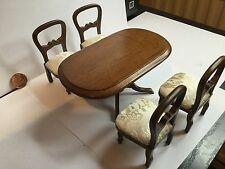 Dolls House Beautiful Wooden Dining Table and 4 Chairs