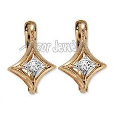 Russian Style Diamond Earrings Russian Jewelry 14k Gold #E1070