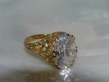Estate High Set Oval Clear Faceted Rhinestone in Openwork Goldtone Cocktail Ring